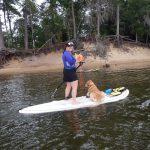 Dani and Izzy padle boating